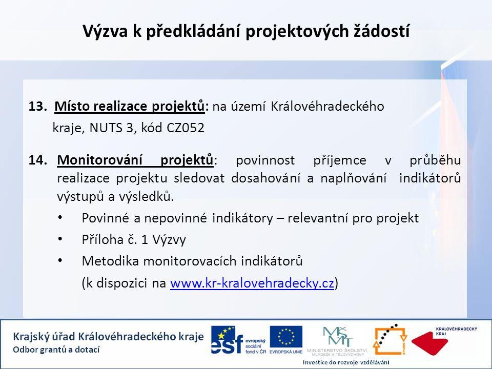 Výzva k předkládání projektových žádostí 13.