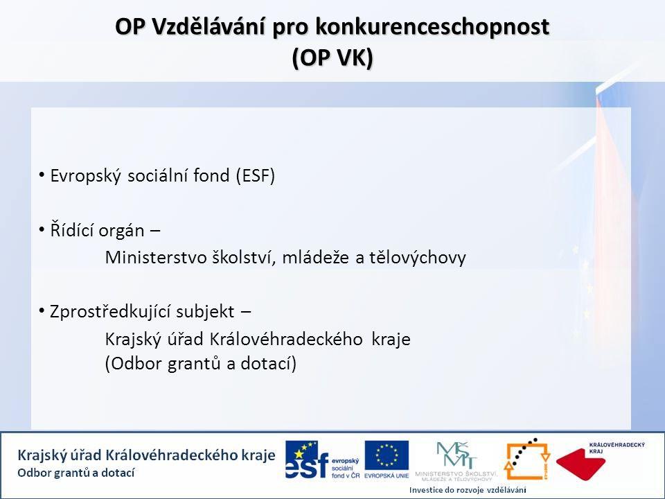 OP Vzdělávání pro konkurenceschopnost (OP VK) • Evropský sociální fond (ESF) • Řídící orgán – Ministerstvo školství, mládeže a tělovýchovy • Zprostředkující subjekt – Krajský úřad Královéhradeckého kraje (Odbor grantů a dotací)