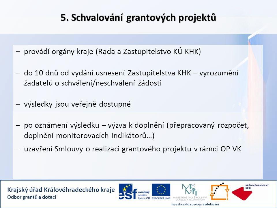 5. Schvalování grantových projektů –provádí orgány kraje (Rada a Zastupitelstvo KÚ KHK) –do 10 dnů od vydání usnesení Zastupitelstva KHK – vyrozumění