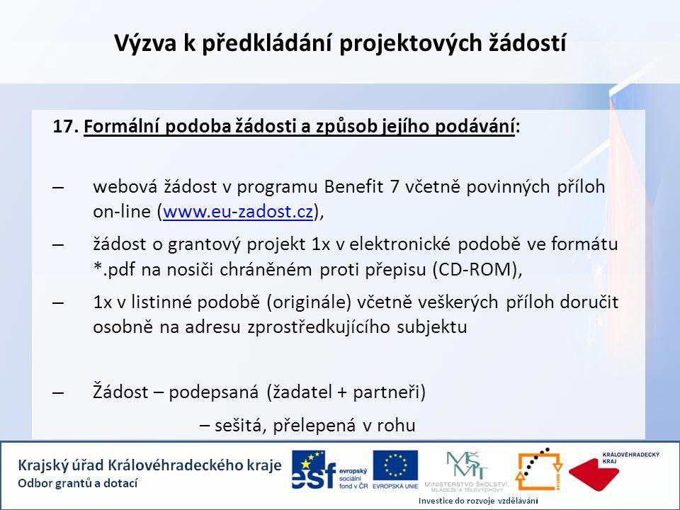 Výzva k předkládání projektových žádostí 17.