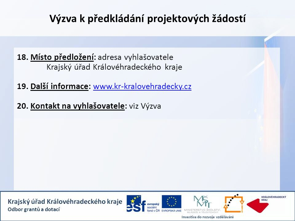 Výzva k předkládání projektových žádostí 18.