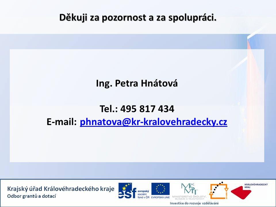 Ing. Petra Hnátová Tel.: 495 817 434 E-mail: phnatova@kr-kralovehradecky.czphnatova@kr-kralovehradecky.cz Děkuji za pozornost a za spolupráci.