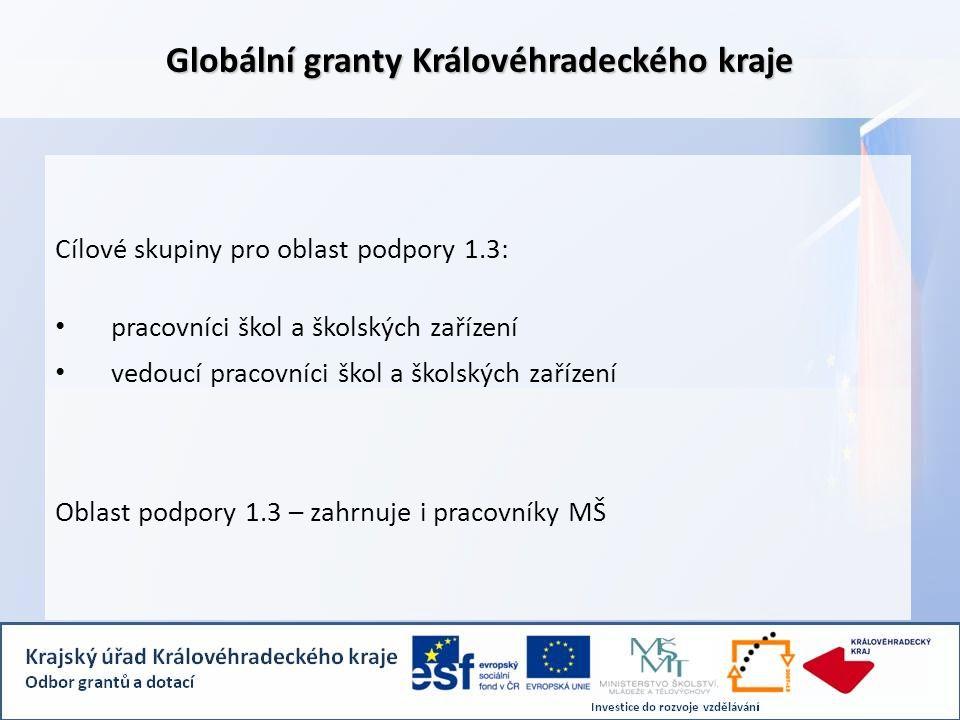 Globální granty Královéhradeckého kraje Cílové skupiny pro oblast podpory 1.3: • pracovníci škol a školských zařízení • vedoucí pracovníci škol a školských zařízení Oblast podpory 1.3 – zahrnuje i pracovníky MŠ