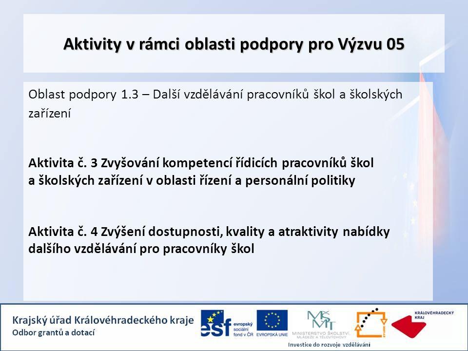 Aktivity v rámci oblasti podpory pro Výzvu 05 Oblast podpory 1.3 – Další vzdělávání pracovníků škol a školských zařízení Aktivita č.