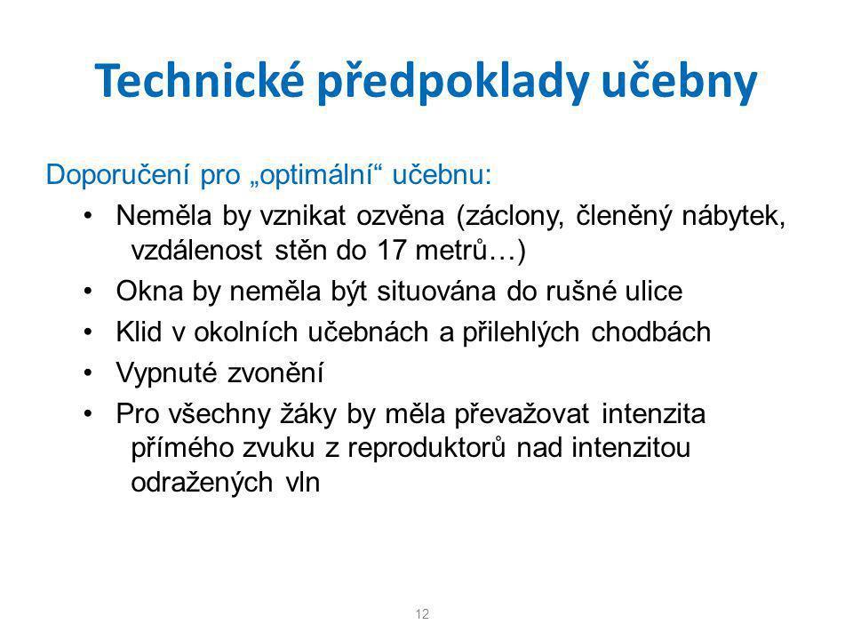 """Technické předpoklady učebny Doporučení pro """"optimální"""" učebnu: • Neměla by vznikat ozvěna (záclony, členěný nábytek, vzdálenost stěn do 17 metrů…) •"""