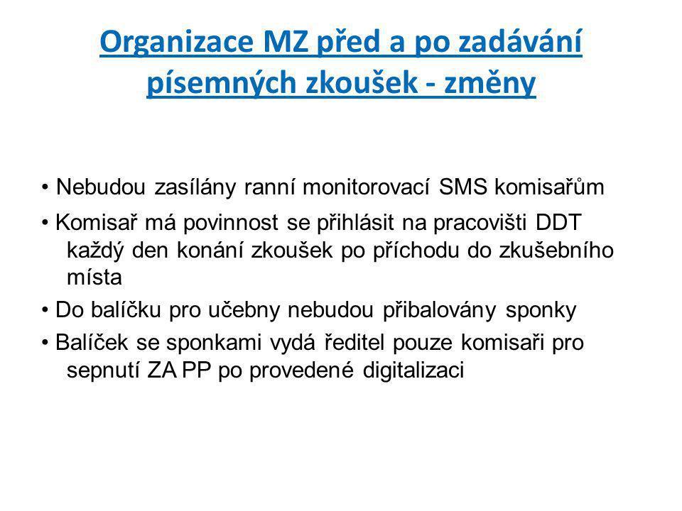 Organizace MZ před a po zadávání písemných zkoušek - změny • Nebudou zasílány ranní monitorovací SMS komisařům • Komisař má povinnost se přihlásit na