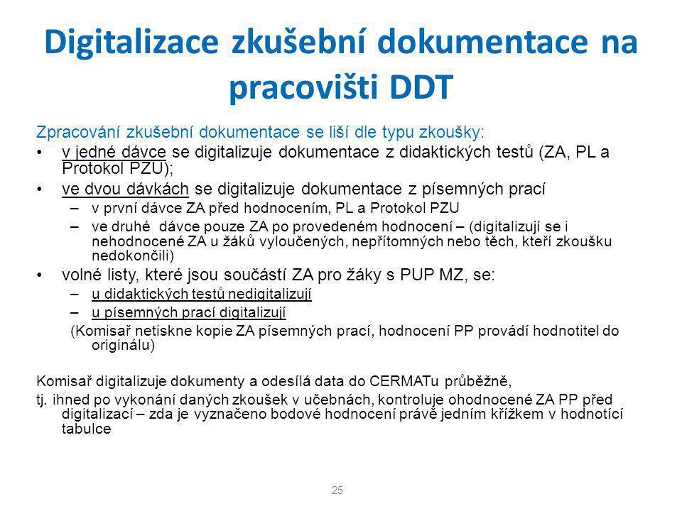 Digitalizace zkušební dokumentace na pracovišti DDT Zpracování zkušební dokumentace se liší dle typu zkoušky: •v jedné dávce se digitalizuje dokumenta