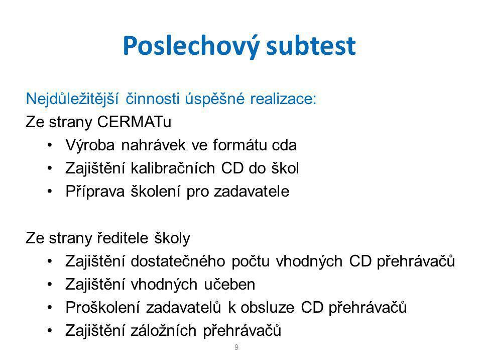 Poslechový subtest Nejdůležitější činnosti úspěšné realizace: Ze strany CERMATu • Výroba nahrávek ve formátu cda • Zajištění kalibračních CD do škol •