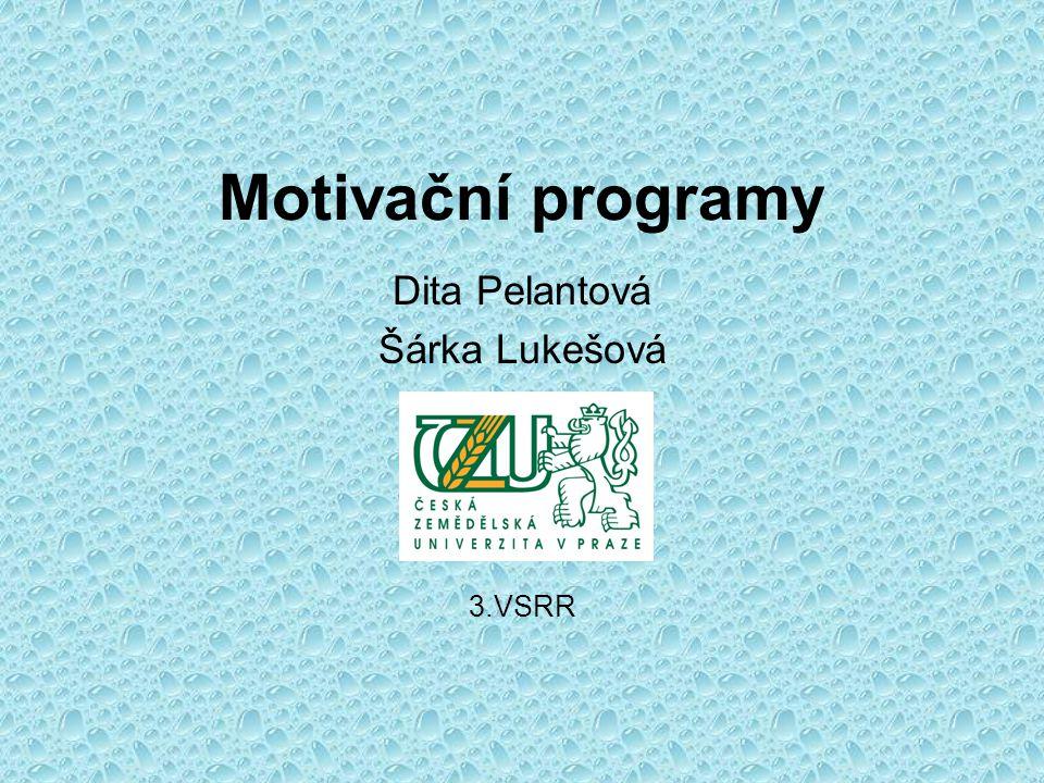 Motivační programy Dita Pelantová Šárka Lukešová 3.VSRR