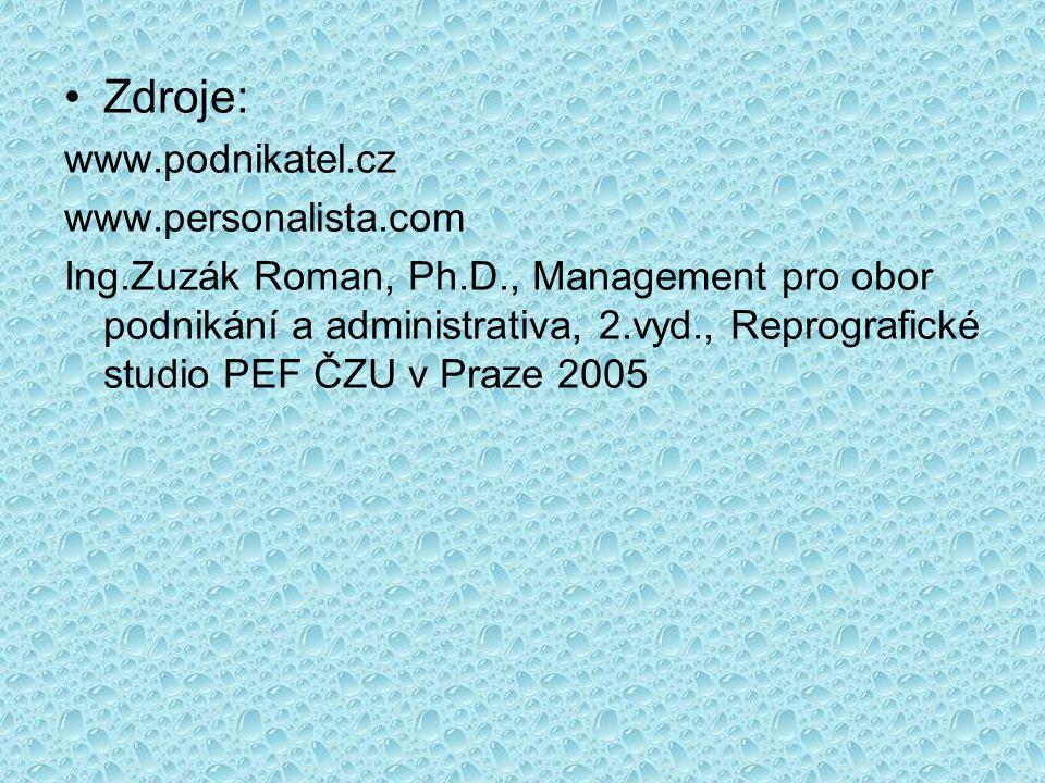 •Zdroje: www.podnikatel.cz www.personalista.com Ing.Zuzák Roman, Ph.D., Management pro obor podnikání a administrativa, 2.vyd., Reprografické studio P