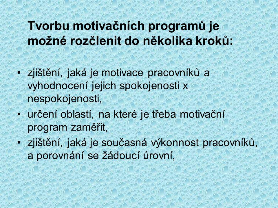 Tvorbu motivačních programů je možné rozčlenit do několika kroků: •zjištění, jaká je motivace pracovníků a vyhodnocení jejich spokojenosti x nespokoje