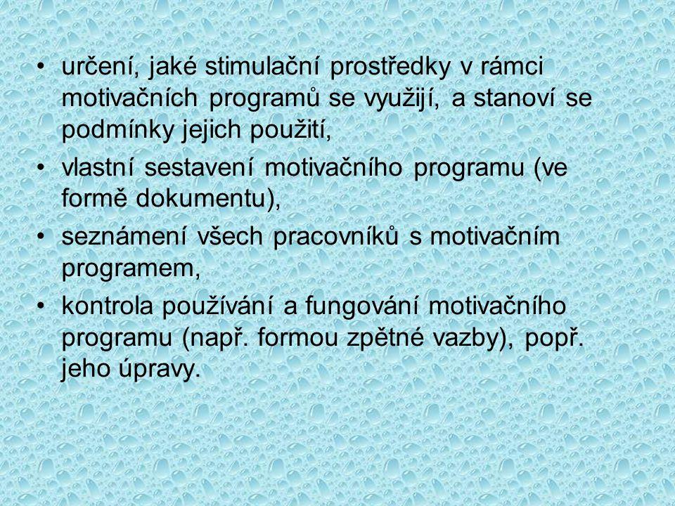 •určení, jaké stimulační prostředky v rámci motivačních programů se využijí, a stanoví se podmínky jejich použití, •vlastní sestavení motivačního prog