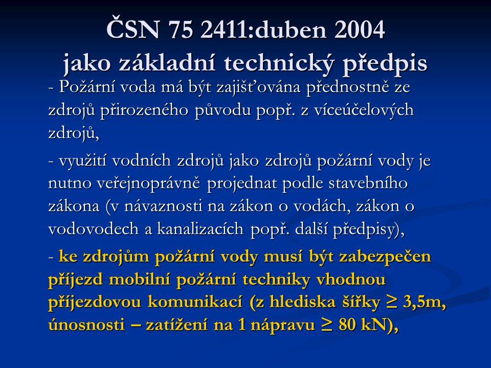 ČSN 75 2411:duben 2004 jako základní technický předpis - Požární voda má být zajišťována přednostně ze zdrojů přirozeného původu popř.
