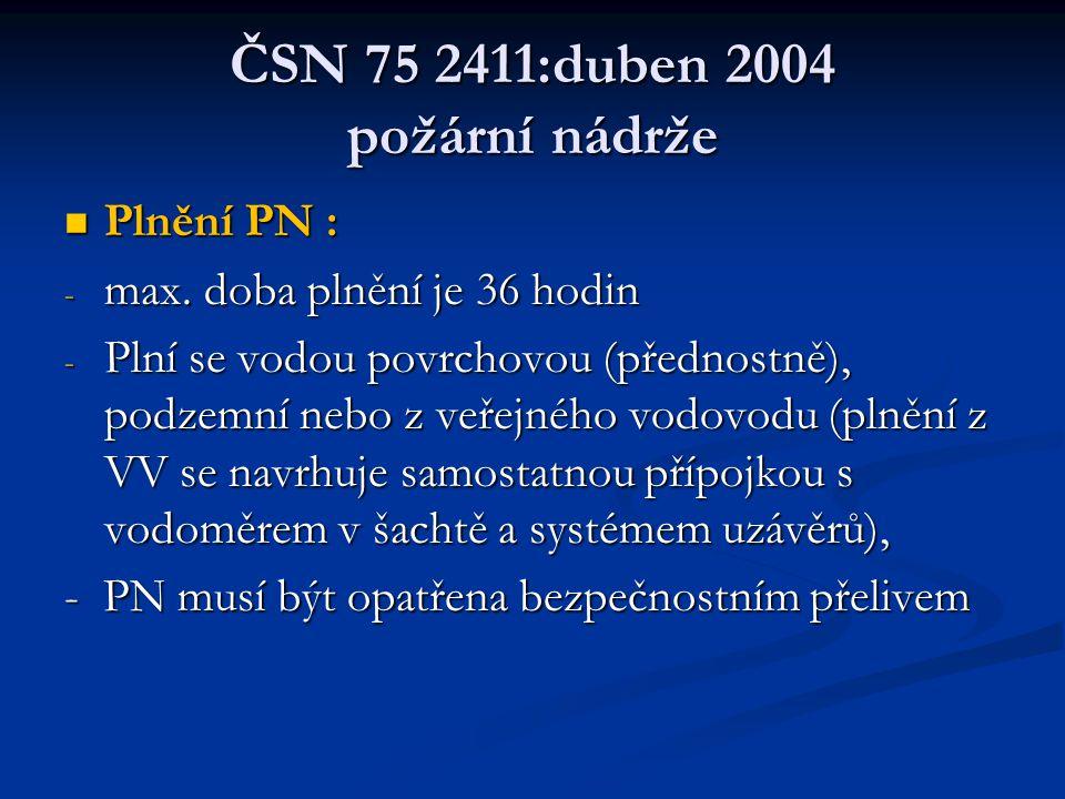 ČSN 75 2411:duben 2004 požární nádrže  Plnění PN : - max.