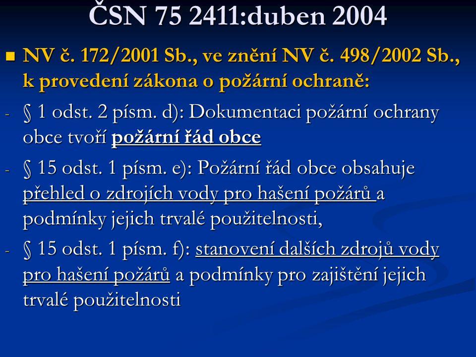 ČSN 75 2411:duben 2004  NV č.172/2001 Sb., ve znění NV č.