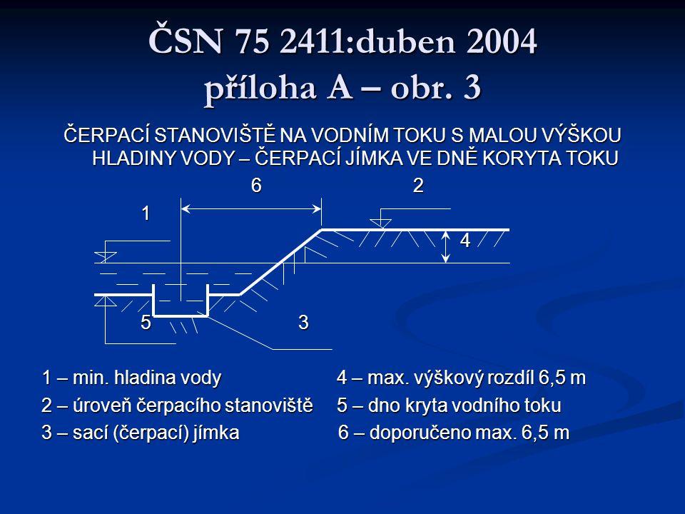 ČSN 75 2411:duben 2004 požární nádrže - Sací potrubí musí mít DN 110 mm a osazuje se sacím košem se zpětnou klapkou, savicovým šroubením s uzávěrem.