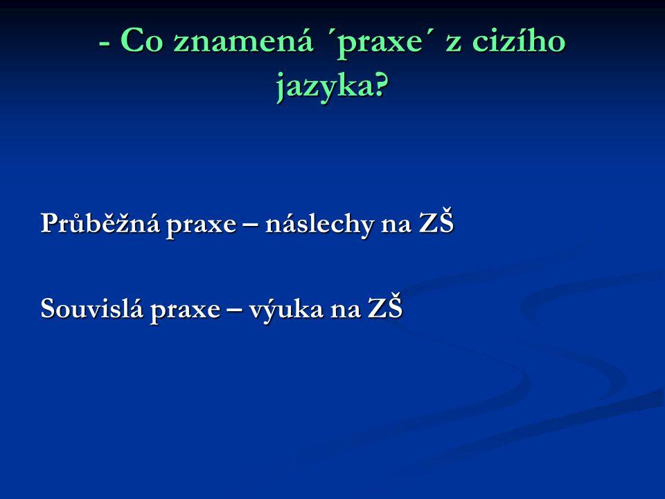 - Co znamená ´praxe´ z cizího jazyka? Průběžná praxe – náslechy na ZŠ Souvislá praxe – výuka na ZŠ
