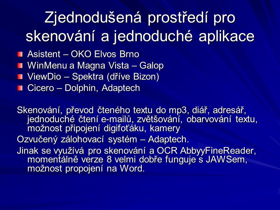 Zjednodušená prostředí pro skenování a jednoduché aplikace Asistent – OKO Elvos Brno WinMenu a Magna Vista – Galop ViewDio – Spektra (dříve Bizon) Cicero – Dolphin, Adaptech Skenování, převod čteného textu do mp3, diář, adresář, jednoduché čtení e-mailů, zvětšování, obarvování textu, možnost připojení digifoťáku, kamery Ozvučený zálohovací systém – Adaptech.