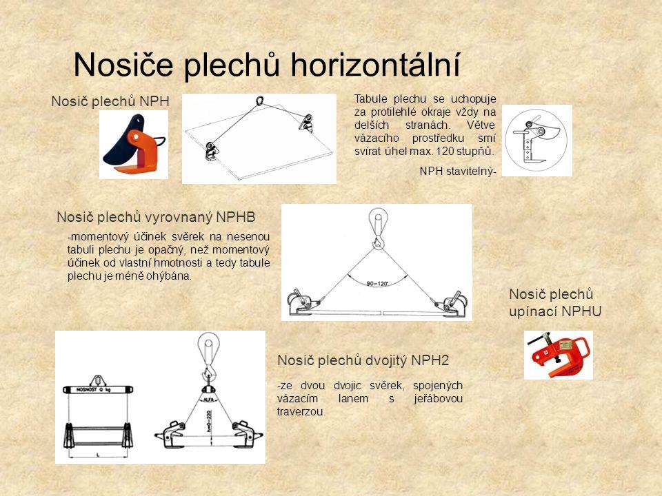 Nosiče plechů horizontální Nosič plechů dvojitý NPH2 Nosič plechů NPH Nosič plechů upínací NPHU Nosič plechů vyrovnaný NPHB Tabule plechu se uchopuje