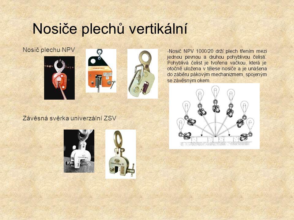 Nosiče plechů vertikální Nosič plechu NPV Závěsná svěrka univerzální ZSV -Nosič NPV 1000/20 drží plech třením mezi jednou pevnou a druhou pohyblivou č