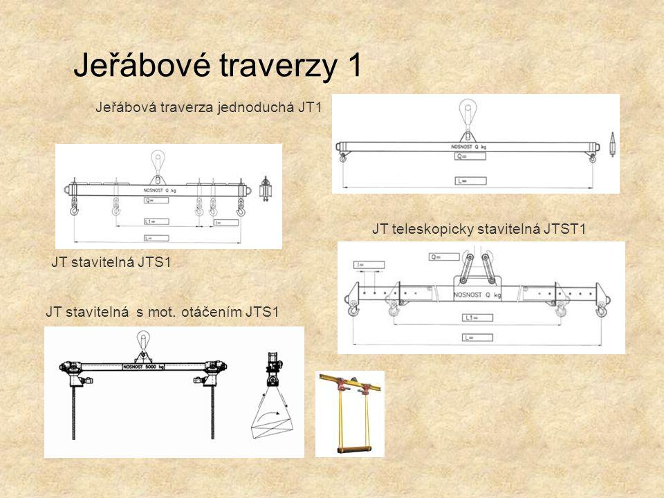 Jeřábové traverzy 1 Jeřábová traverza jednoduchá JT1 JT stavitelná s mot. otáčením JTS1 JT teleskopicky stavitelná JTST1 JT stavitelná JTS1