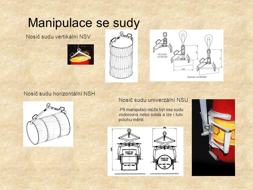Manipulace se sudy Nosič sudu horizontální NSH Nosič sudu vertikální NSV Nosič sudu univerzální NSU -Při manipulaci může být osa sudu vodorovná nebo s