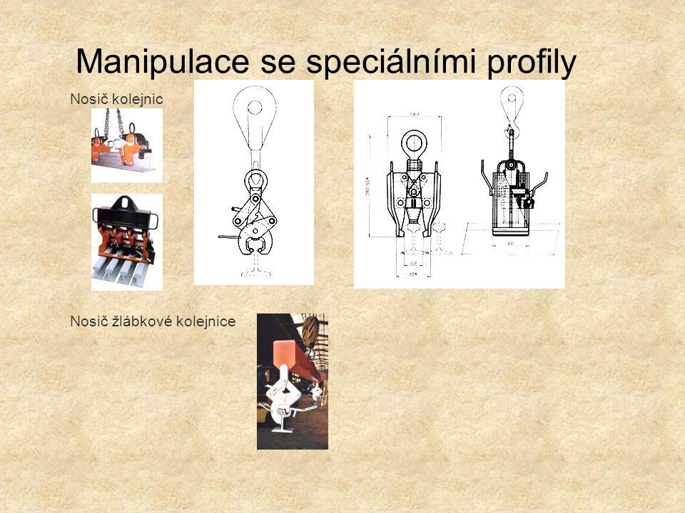 Manipulace se speciálními profily Nosič kolejnic Nosič žlábkové kolejnice