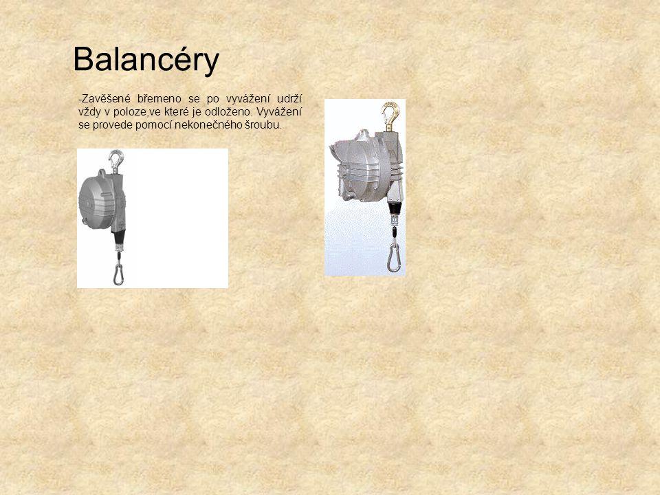 Balancéry -Zavěšené břemeno se po vyvážení udrží vždy v poloze,ve které je odloženo. Vyvážení se provede pomocí nekonečného šroubu.