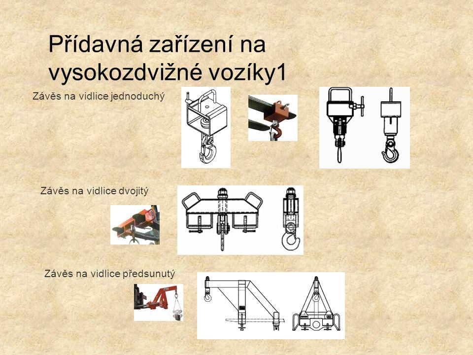 Přídavná zařízení na vysokozdvižné vozíky1 Závěs na vidlice jednoduchý Závěs na vidlice dvojitý Závěs na vidlice předsunutý