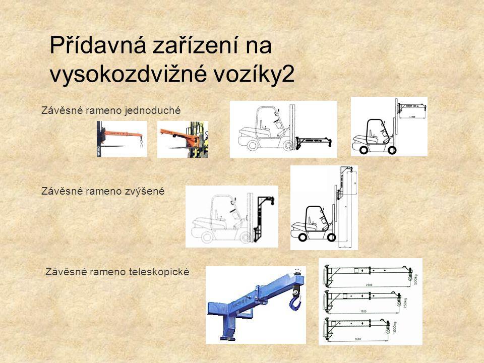 Závěsné rameno jednoduché Závěsné rameno zvýšené Závěsné rameno teleskopické Přídavná zařízení na vysokozdvižné vozíky2