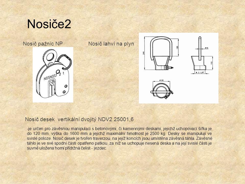 Nosiče2 Nosič pažnic NPNosič lahví na plyn Nosič desek vertikální dvojitý NDV2 25001,6 -je určen pro závěsnou manipulaci s betonovými, či kamennými de