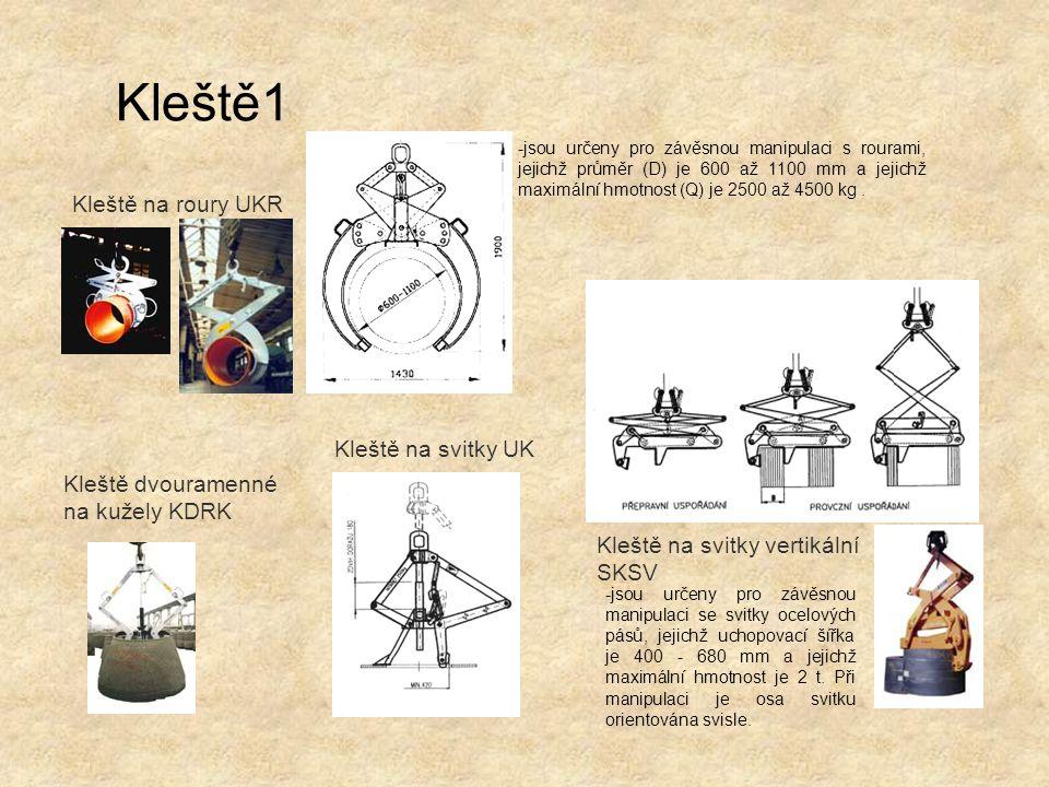 Kleště dvouramenné na kužely KDRK Kleště na svitky vertikální SKSV Kleště na svitky UK Kleště na roury UKR -jsou určeny pro závěsnou manipulaci s rour