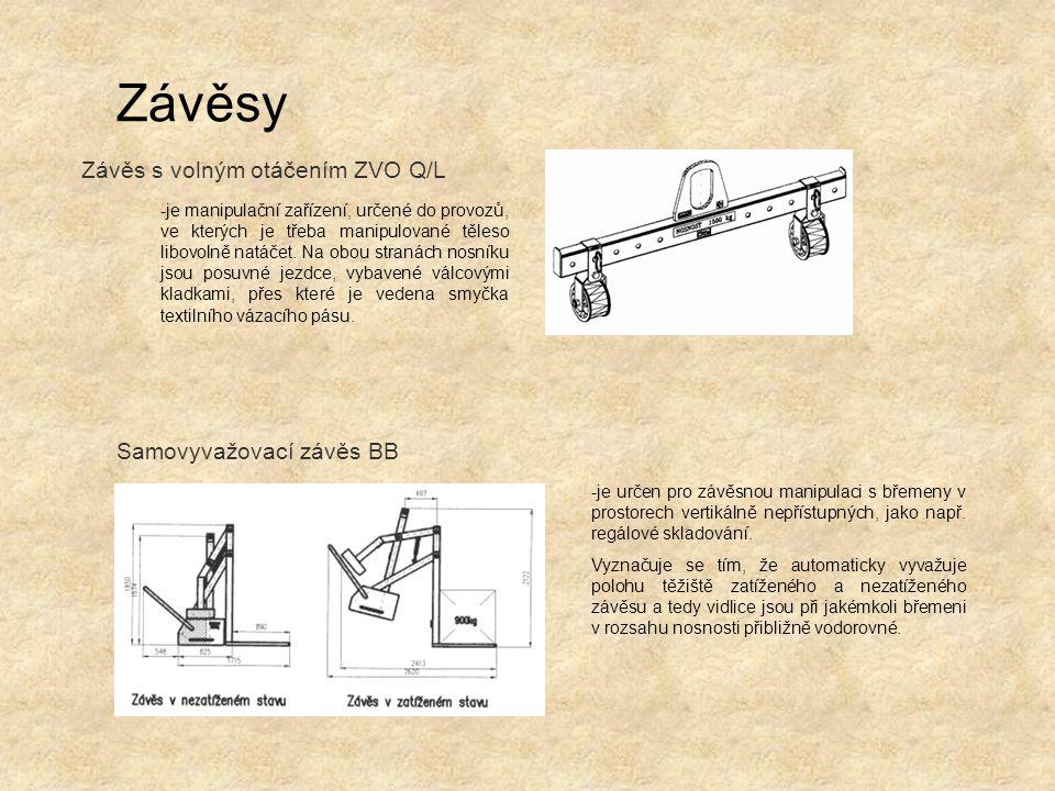 Závěs s volným otáčením ZVO Q/L Závěsy Samovyvažovací závěs BB -je manipulační zařízení, určené do provozů, ve kterých je třeba manipulované těleso li