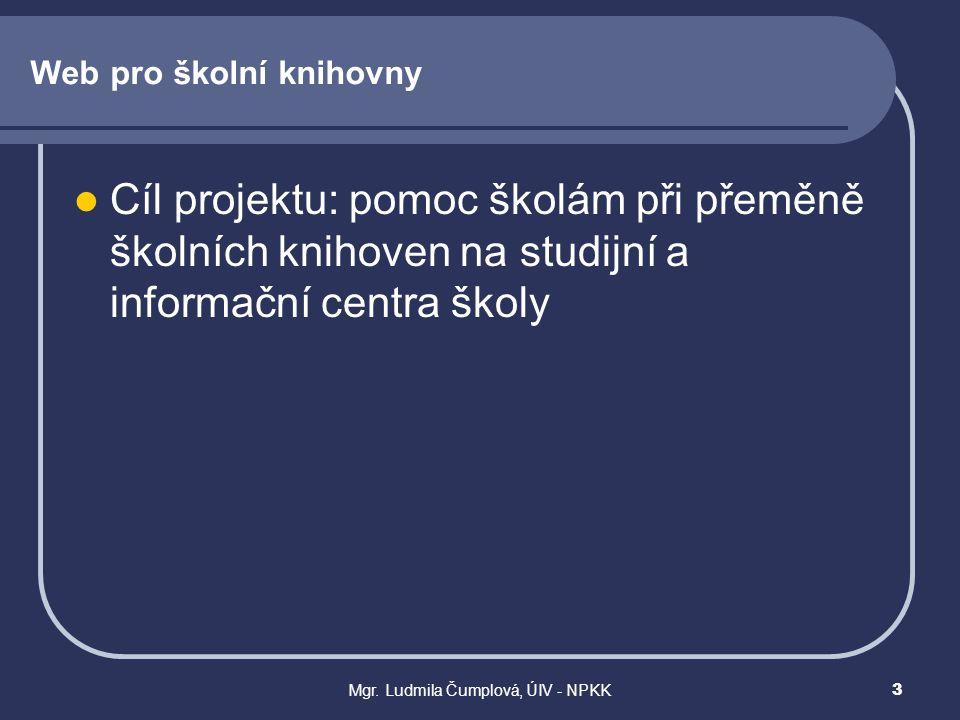 Mgr. Ludmila Čumplová, ÚIV - NPKK3 Web pro školní knihovny  Cíl projektu: pomoc školám při přeměně školních knihoven na studijní a informační centra