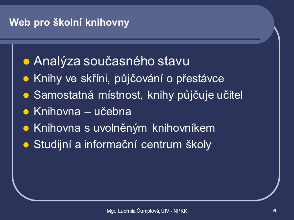 Mgr. Ludmila Čumplová, ÚIV - NPKK4 Web pro školní knihovny  Analýza současného stavu  Knihy ve skříni, půjčování o přestávce  Samostatná místnost,
