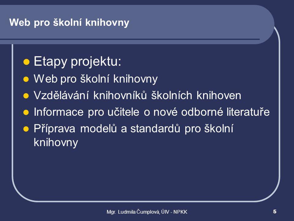 Mgr. Ludmila Čumplová, ÚIV - NPKK5 Web pro školní knihovny  Etapy projektu:  Web pro školní knihovny  Vzdělávání knihovníků školních knihoven  Inf