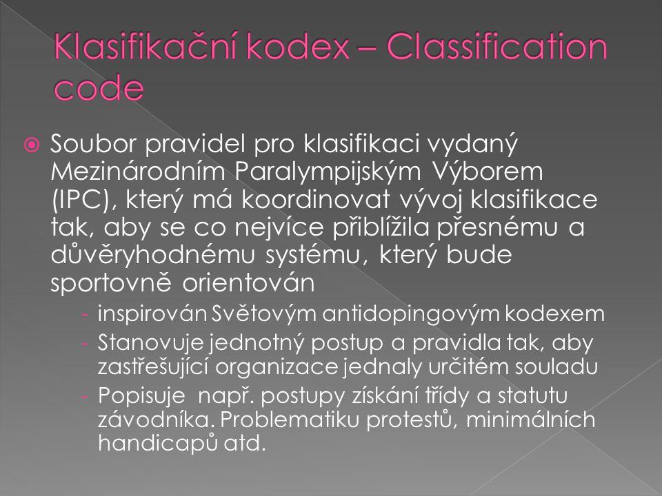  Soubor pravidel pro klasifikaci vydaný Mezinárodním Paralympijským Výborem (IPC), který má koordinovat vývoj klasifikace tak, aby se co nejvíce přib