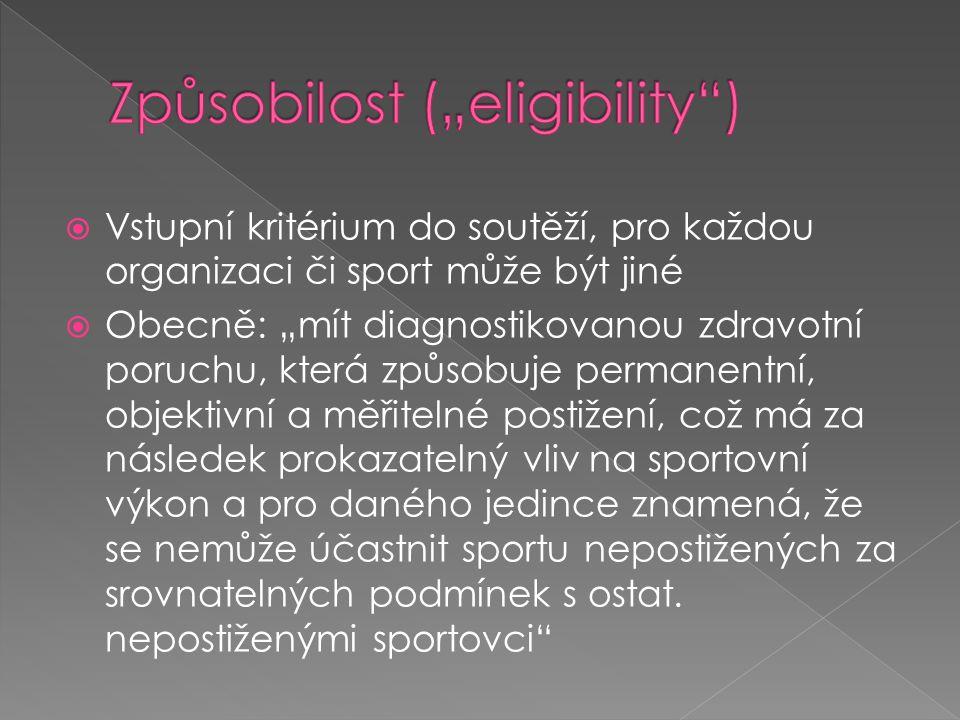  Klasifikační třída - u většiny sportovců tvořena kombinací písmene a čísla (např.
