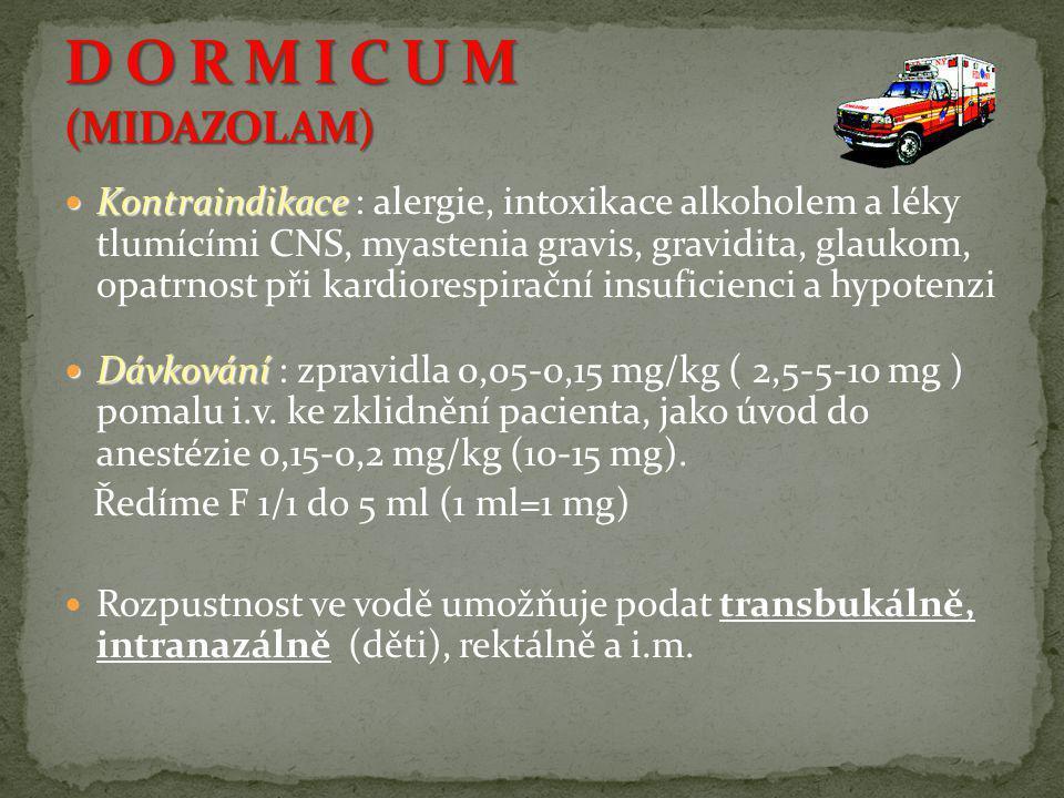  Kontraindikace  Kontraindikace : alergie, intoxikace alkoholem a léky tlumícími CNS, myastenia gravis, gravidita, glaukom, opatrnost při kardioresp