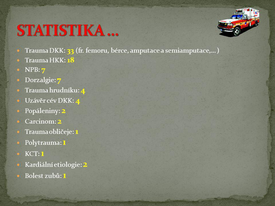  Trauma DKK: 33 (fr. femoru, bérce, amputace a semiamputace,… )  Trauma HKK: 18  NPB: 7  Dorzalgie: 7  Trauma hrudníku: 4  Uzávěr cév DKK: 4  P