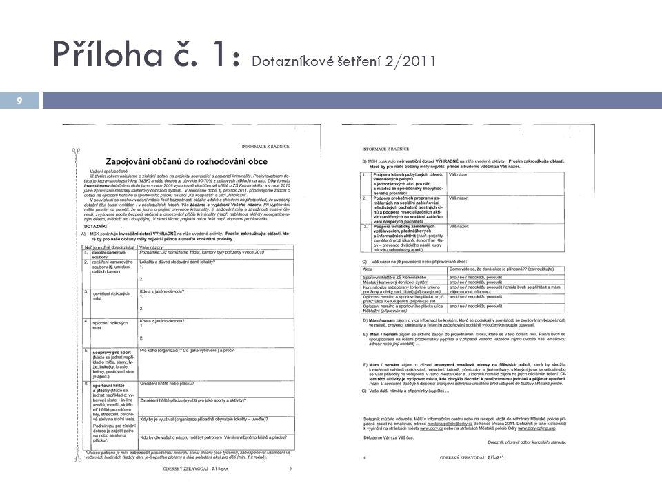 Příloha č. 1: Dotazníkové šetření 2/2011 9