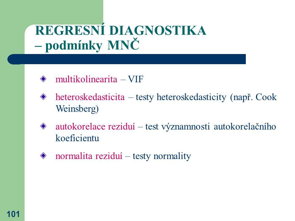101 REGRESNÍ DIAGNOSTIKA – podmínky MNČ multikolinearita – VIF heteroskedasticita – testy heteroskedasticity (např. Cook Weinsberg) autokorelace rezid