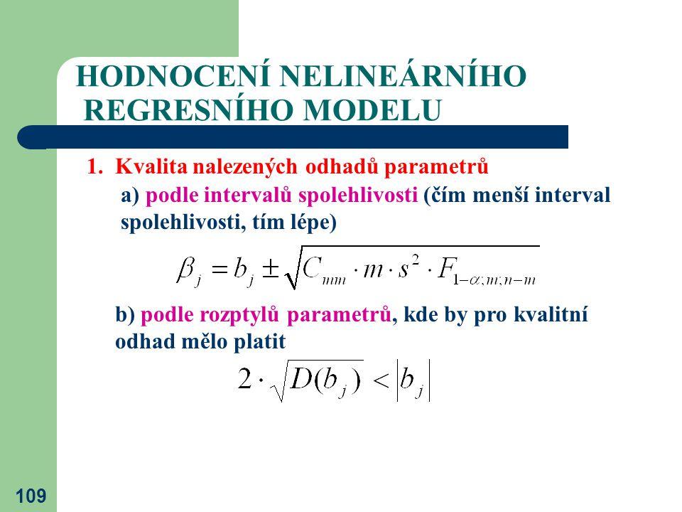 109 HODNOCENÍ NELINEÁRNÍHO REGRESNÍHO MODELU 1. Kvalita nalezených odhadů parametrů a) podle intervalů spolehlivosti (čím menší interval spolehlivosti