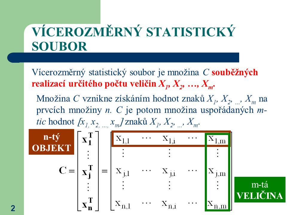 2 VÍCEROZMĚRNÝ STATISTICKÝ SOUBOR Vícerozměrný statistický soubor je množina C souběžných realizací určitého počtu veličin X 1, X 2, …, X m. Množina C