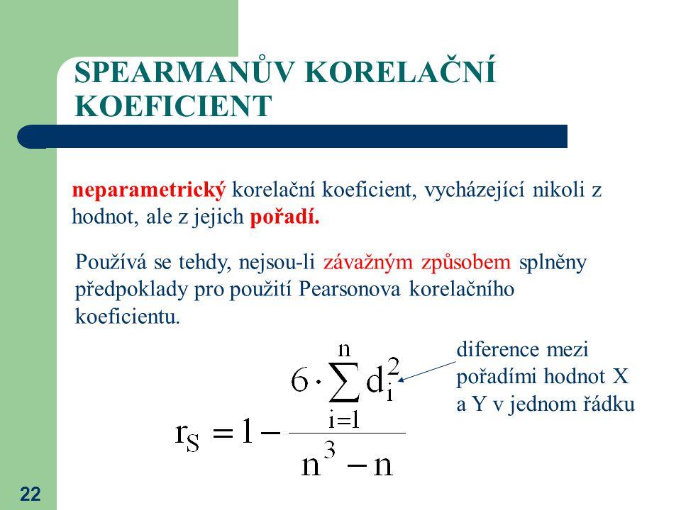 22 SPEARMANŮV KORELAČNÍ KOEFICIENT neparametrický korelační koeficient, vycházející nikoli z hodnot, ale z jejich pořadí. Používá se tehdy, nejsou-li
