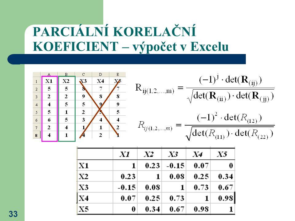 33 PARCIÁLNÍ KORELAČNÍ KOEFICIENT – výpočet v Excelu