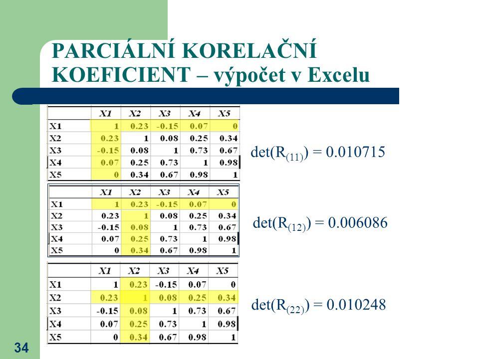 34 PARCIÁLNÍ KORELAČNÍ KOEFICIENT – výpočet v Excelu det(R (11) ) = 0.010715 det(R (12) ) = 0.006086 det(R (22) ) = 0.010248