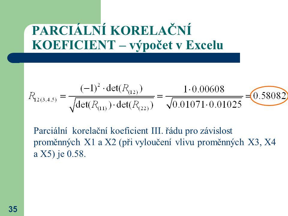 35 PARCIÁLNÍ KORELAČNÍ KOEFICIENT – výpočet v Excelu Parciální korelační koeficient III. řádu pro závislost proměnných X1 a X2 (při vyloučení vlivu pr
