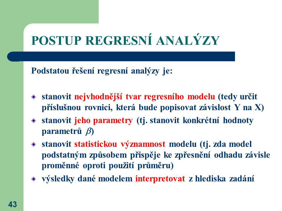 43 POSTUP REGRESNÍ ANALÝZY Podstatou řešení regresní analýzy je: stanovit nejvhodnější tvar regresního modelu (tedy určit příslušnou rovnici, která bu