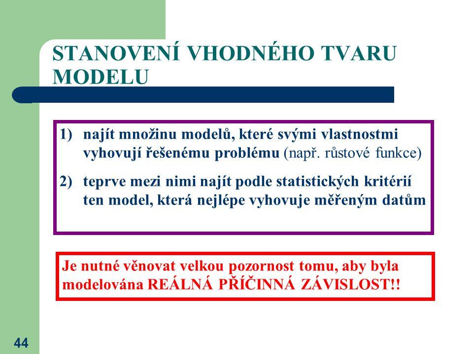 44 STANOVENÍ VHODNÉHO TVARU MODELU 1)najít množinu modelů, které svými vlastnostmi vyhovují řešenému problému (např. růstové funkce) 2)teprve mezi nim